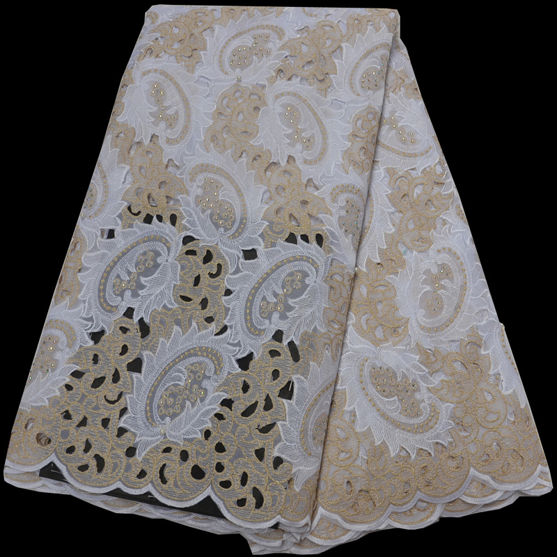12 colors top quality African organza lace fabric white and gold handcut lace fabric with embroidery and stones for party CLP229