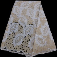high quality African voile lace fabric white and gold handcut Swiss lace fabric with embroidery & stones for party dress CLP229