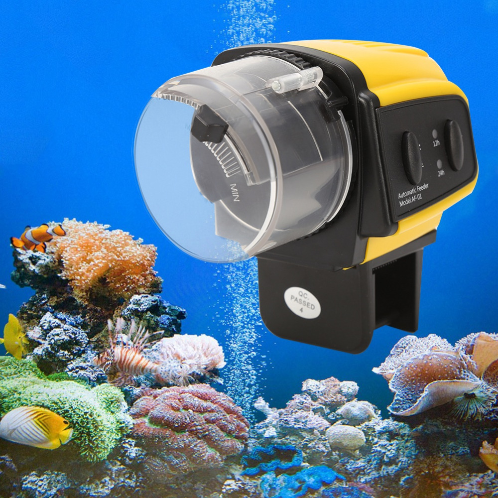 1PC Digital Automatic Electrical Plastic Fish Tank Timer Feeder Home Aquarium Tank Food Feeding Portable Fish Feeder Tools