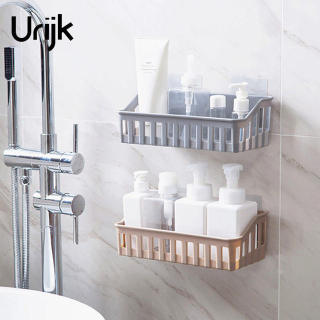 Urijk 1pc Wall Mounted Bathroom Storage Shelf Jewlery Bo Makeup Orgaznier Cosmetic Case Rack Home