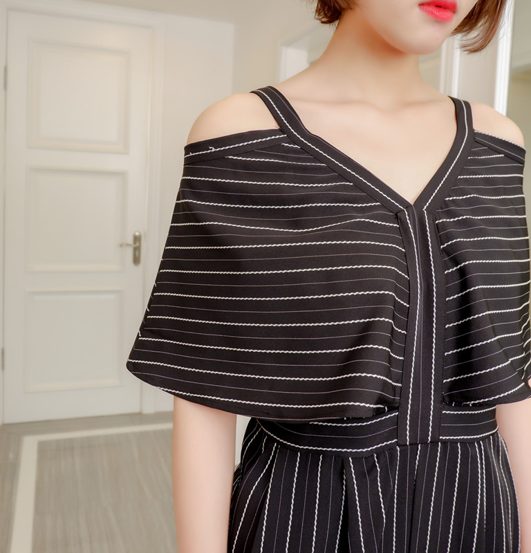 Women Jumpsuit Striped Off The Shoulder Ruffles Sling Rompers Womens Jumpsuit Loose High Waist Summer Woman Overalls 2018 New 4
