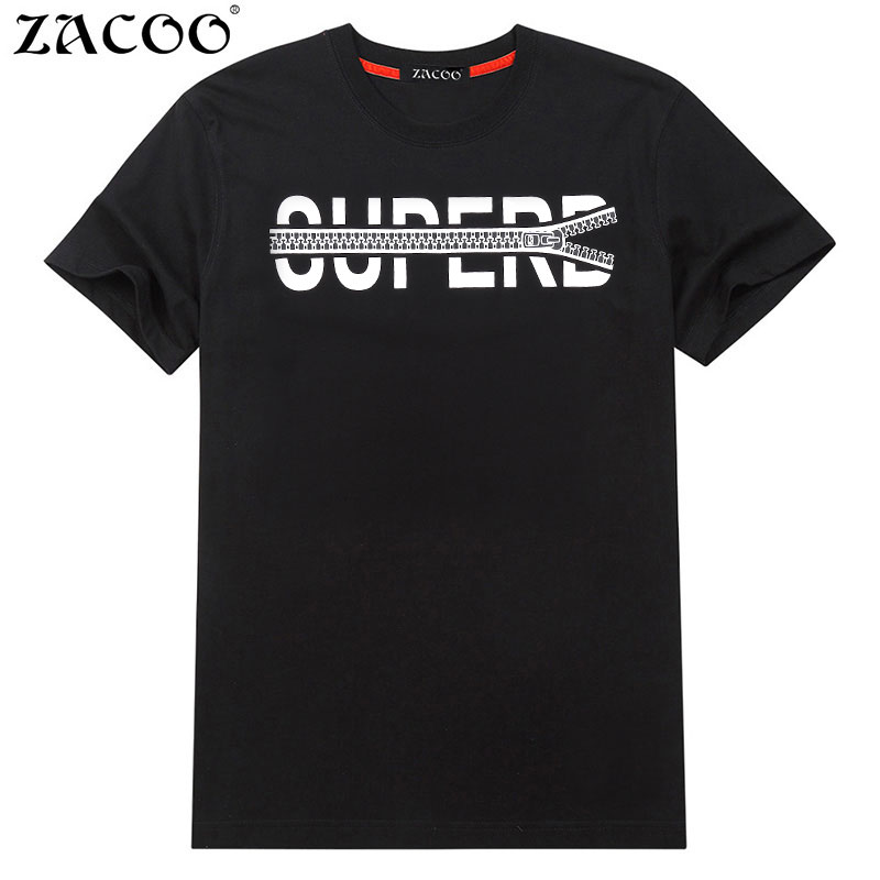 ZACOO Short Sleeve T-shirt men Fashion Comfortabe Pure Cotton Print T Shirt male Casual fashion Tshirt Brand-Clothing