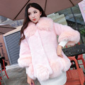 4 Colors Leather Grass Winter Thicken Warm Coat Imitation Mink Jacket Fur Collar Nine Points Sleeve Women Long Fur Outerwear