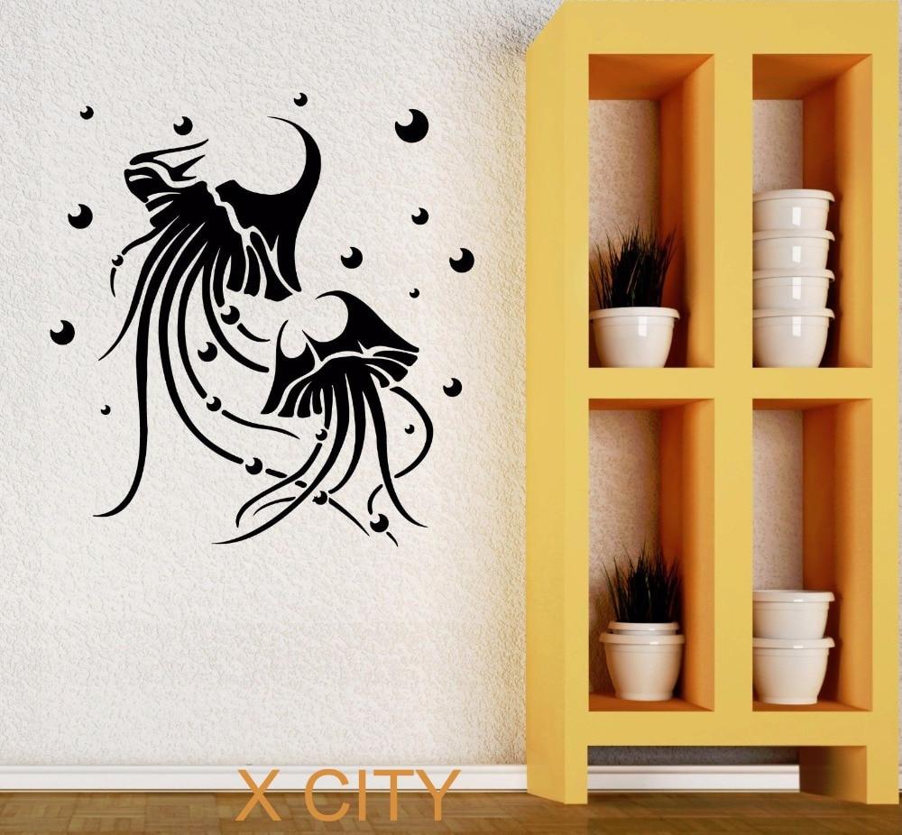 Jellyfish marine animal bathroom wall art decal sticker for Bathroom wall decor vinyl