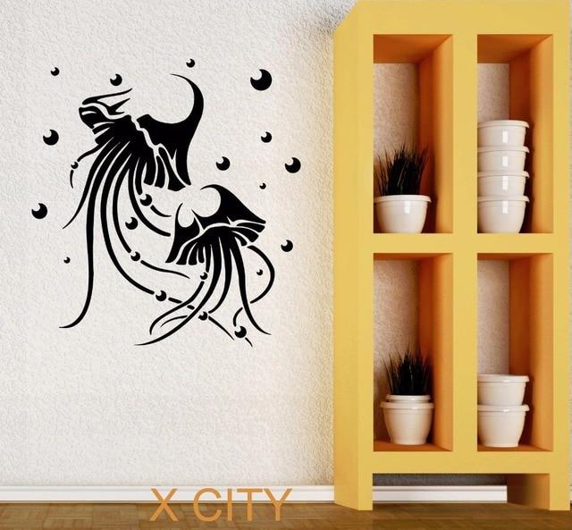 Jellyfish Marine Animal Bathroom Wall Art Decal Sticker Removable Vinyl Transfer Stencil Mural Home Decor