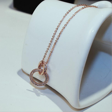 Hot Crystal Long Sweater Rose Gold Color Concentric Circles Chain Necklace Vintage Accessary Collares Statement