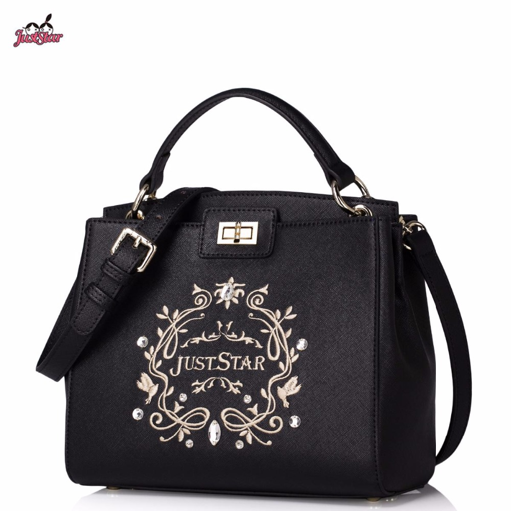 Just Star Brand Design Fashion Embroidery Diamonds PU Women Leather Girls Ladies Handbag Shoulder Crossbody Peekaboo Bag
