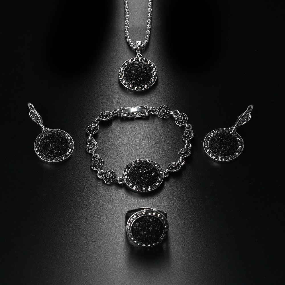 7e7821ad4 1 Set Fashion Rhinestone Necklace Earrings Bracelet Ring Set Crystal Women  Wedding Jewelry Set