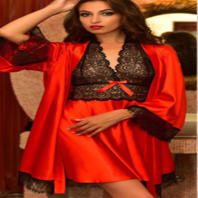 2 PCS Women Soft Satin Lace Sleepwear Robe Lingerie Nightdress Pajama
