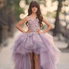 Лавандовое платье с цветочным узором для девочек; бальное платье для девочек; платье для выпускного вечера; Детские пышные платья для девочек; платье подружки невесты; B-21