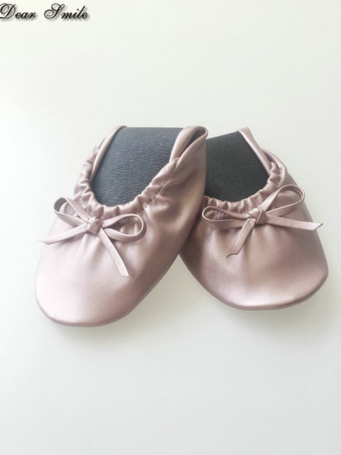 Free Shipping Pink Girls Foldable Ballet Flats Roll Up Ballerina