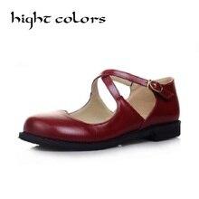 Новый Стиль Старинные Круглый Носок Мэри Джейн Плоские Туфли Для Женщин низкой Пятки Сладкие Милые Куклы Обувь Лолита Мокасины Лодка Обувь Большого Размера 43