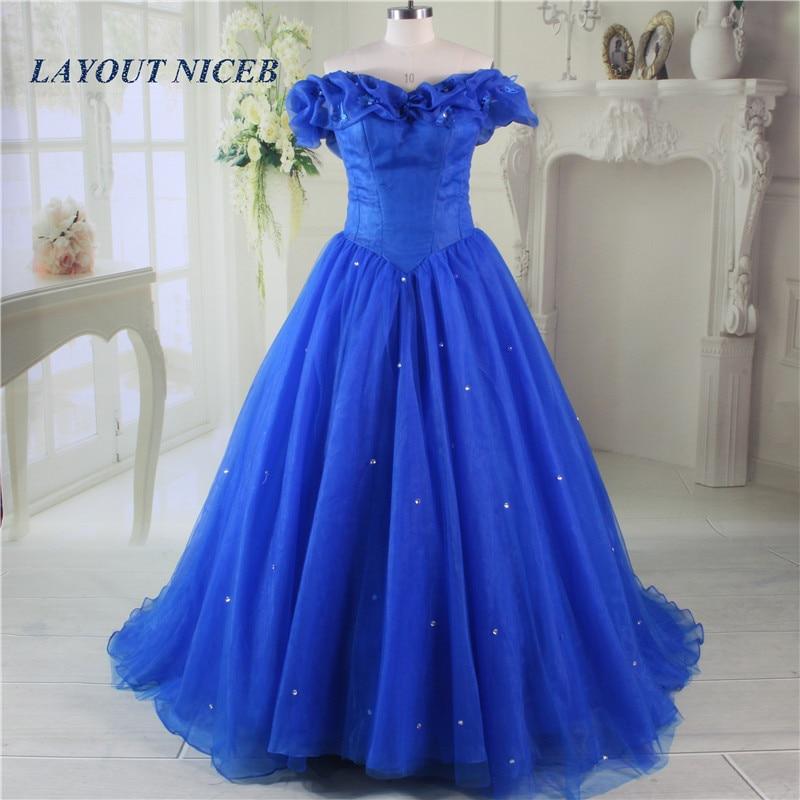 2017 Vestido Longo Royal Blue Princess Suknia Balu Piętro Długość - Suknie specjalne okazje - Zdjęcie 3