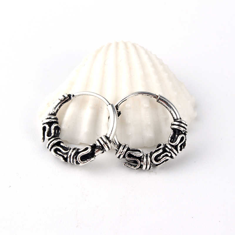 f4bd2a0fa ... European Tribal Vintage Silver Color Endless Circle Earrings Handmade  Small Hoop Earring Bali Wrap For Women ...