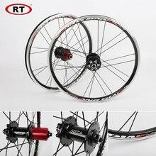 """20 """"折りたたみ自転車ホイール、フロントリアホイールセット 100/135 ミリメートルv & ディスクブレーキ 451/406 7 10sアルミリムbmx自転車ホイールセット"""