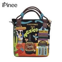 IPinee New Vintga Women Canvas Bag Printing Handbags Personality Designer Classical Messenger Shoulder Bags