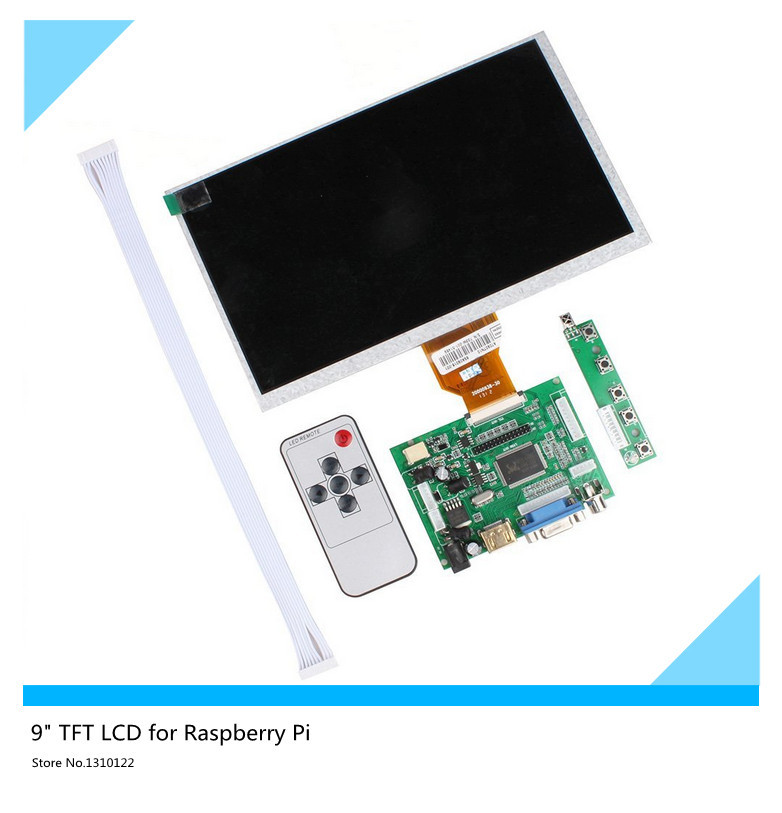 HDMI / VGA Digital LCD Driver Board with 9inch TFT LCD for Raspberry Pi