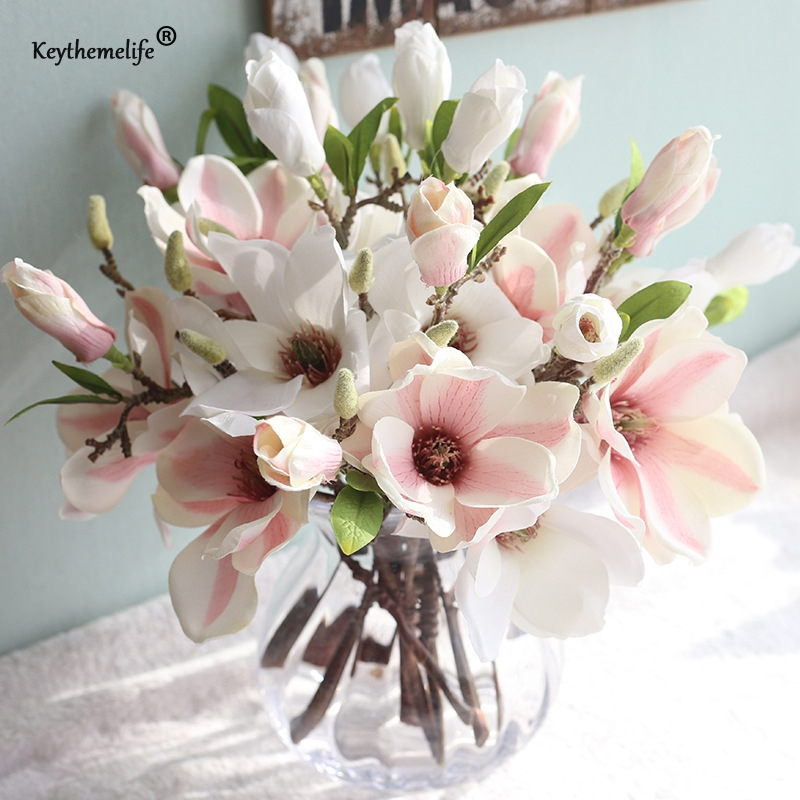 Keythemelife 1 Pcs Artificial Flowers Silk Flower Fake Leaf Magnolia Wedding Decoration Home