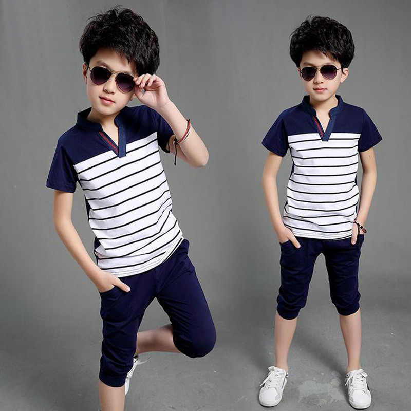 Summer Clothing Sets For Boys 2019 Cotton Big Boy Shirts Pants 2Pcs Casual Striped Boys Suits Teenager Children Clothing 4-16TSummer Clothing Sets For Boys 2019 Cotton Big Boy Shirts Pants 2Pcs Casual Striped Boys Suits Teenager Children Clothing 4-16T