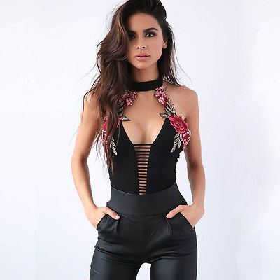 Women's Clothing Vintage V-neck Tops Women Sexy Backless Bodysuit Embroidery Floral Bodycon Bodysuits