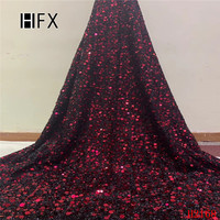 HFX Black Red African Lace Sequin Fabric The New Listing Glitter Lace Fabric For Sewing Dress Hojilou Latest Nigerian Lace F2168