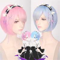2018 Free Shipping Anime Re A Different World Life From Scratch Cosplay Ram Rem Wig Halloween