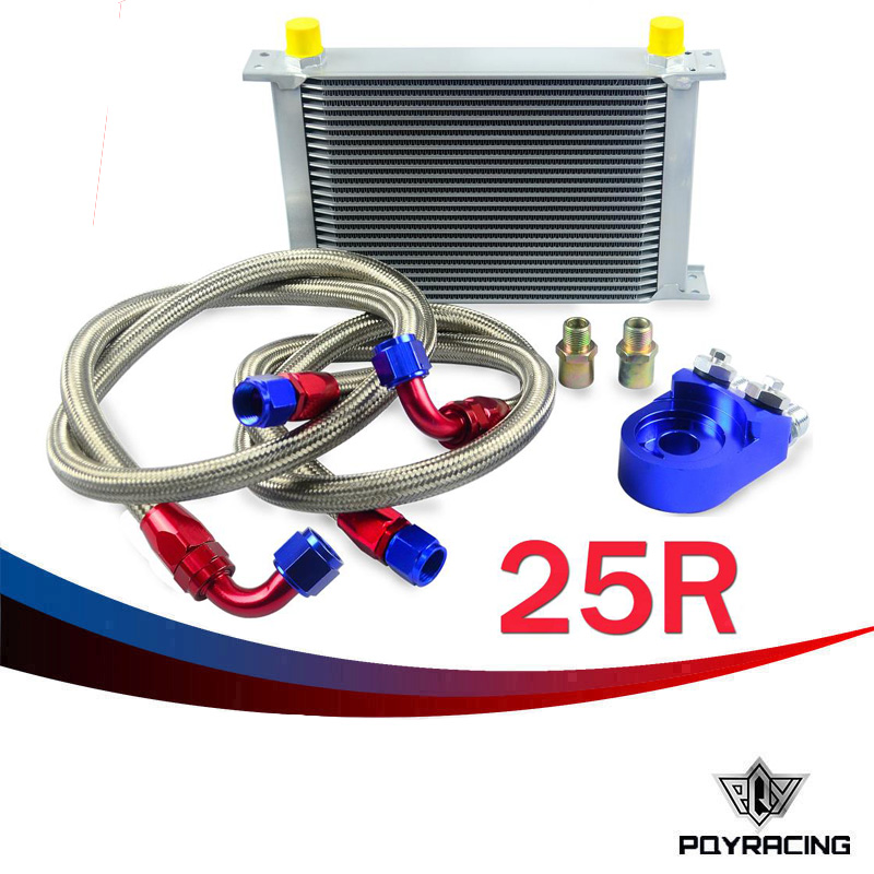 Здесь можно купить   PQY RACING- AN10 OIL COOLER KIT 25RWOS TRANSMISSION OIL COOLER SILVER+OIL FILTER  ADAPTER BLUE PQY3825B Автомобили и Мотоциклы