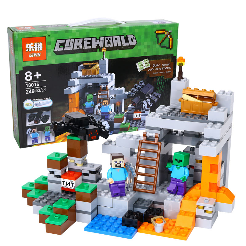 Model building kits compatible lego my worlds MineCraft 21113 18016 The Cave Underground Fortress Brick figure toys for children 18003 model building kits compatible my worlds minecraft the jungle 116 tree house model building toys hobbies for children