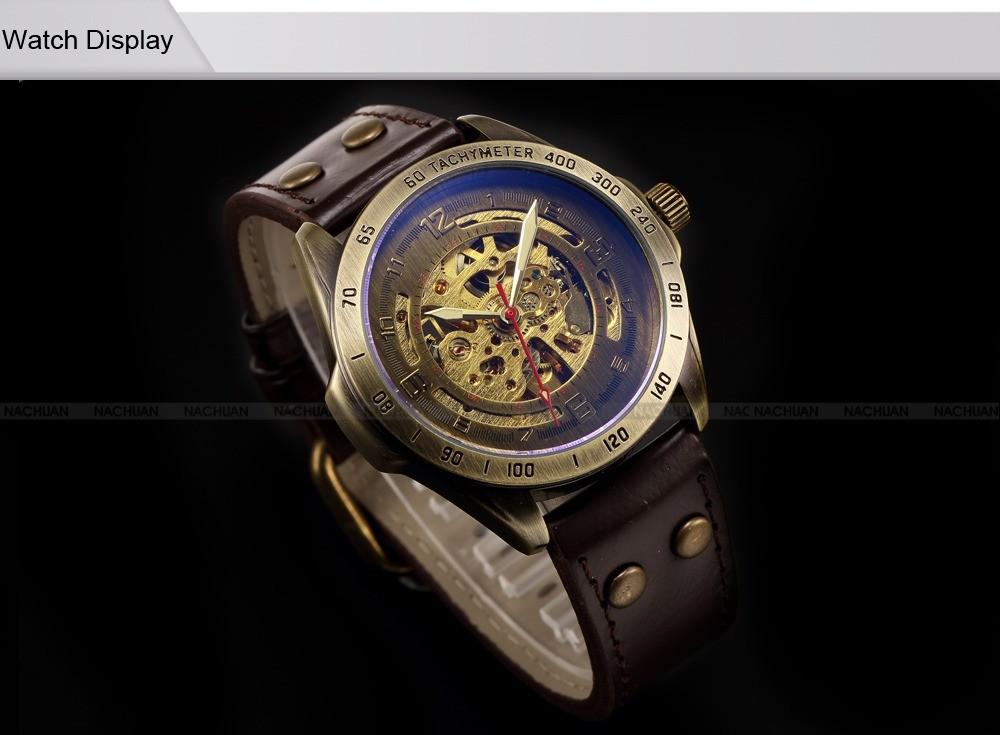 Luksusowe marki męska retro bronze steampunk szkielet automatyczne mechaniczne relogio skórzane sportowe męskie w stylu vintage casual wrist watch 4