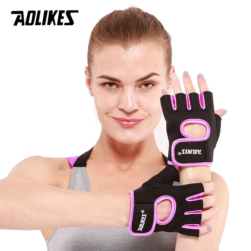 AOLIKES 1 Pair Men Women Gym Half Finger Sports Fitness Exercise Training Wrist Gloves Anti-slip Resistance Weightlifting Gloves isudar car multimedia player 2 din car dvd for vw volkswagen golf polo tiguan passat b7 b6 seat leon skoda octavia radio gps dab