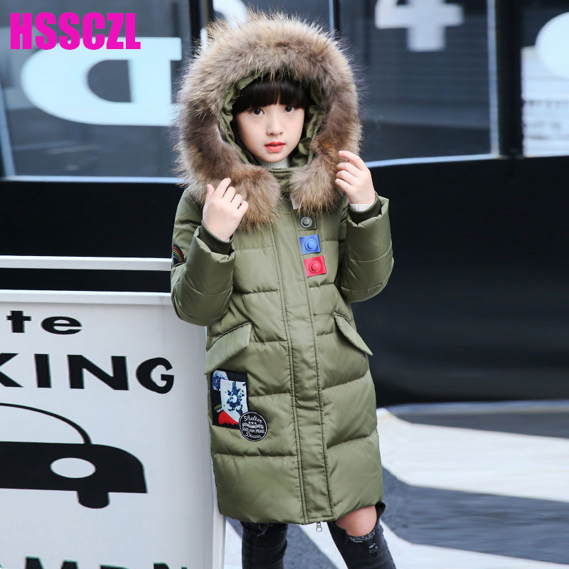HSSCZL Girls Down Jackets 2017 Brand Winter Thicken Natural Fur Collar Hooded Children Down Coats Outerwear Overcoat Parkas 7-14
