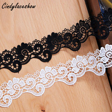 3Yards 3.8cm Width White Black Embroidered Floral Water Soluble Lace Trim for Dress Edge Hometexile Decor Sewing Appliques