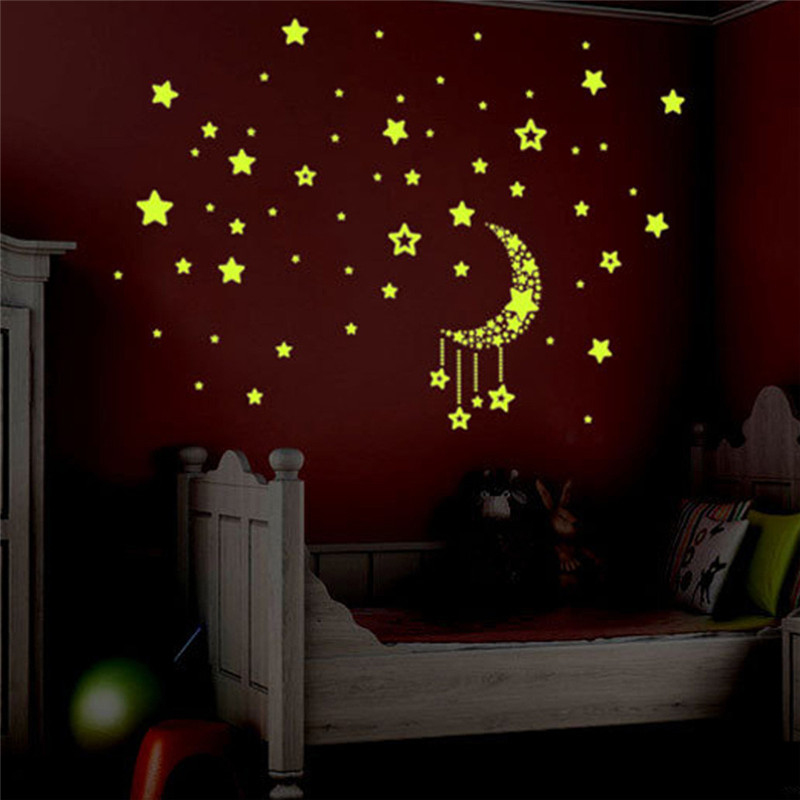 50pcs/set Bright yellow luminous in dark kids room wall stickers star moon design sky glowing ceiling stickers for children room bison rolling grill