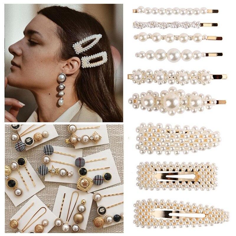 3 Pcs Womens Pearl Hair Clip Gold Hairpin Slide Grips Barrette Hair Accessories