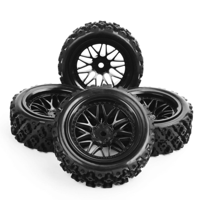 4 Pcs/Set Rubber Tires Wheel 12mm Hex Rally Racing 1/10 RC Off Road Car Vehicle Tyre Tires &Wheel Rim PP0487+BBNK In Stock E