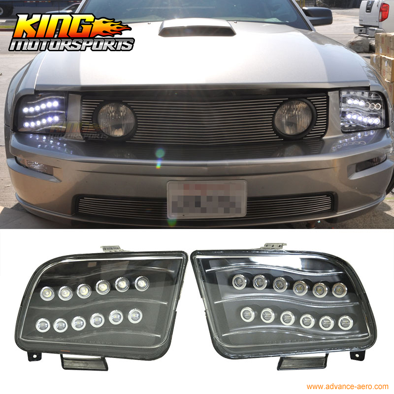 For 05-09 Ford Mustang Black Housing High Power LED Projector Headlights USA Domestic Free Shipping Hot Selling ford mustang cobra jet