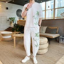 Loldeal Embroidered Bamboo Mens Summer Linen Casual Street Chinese Retro Suit Track