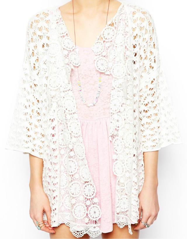 Wst265 Women White Crochet Sweater Cardigan In Cardigans From