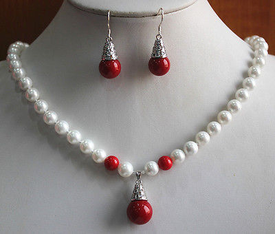 Nobility Lucky women's natural Charming 8mm White/Red/Orange Shell Pearl Necklace Earring Pendant Jewelry Set