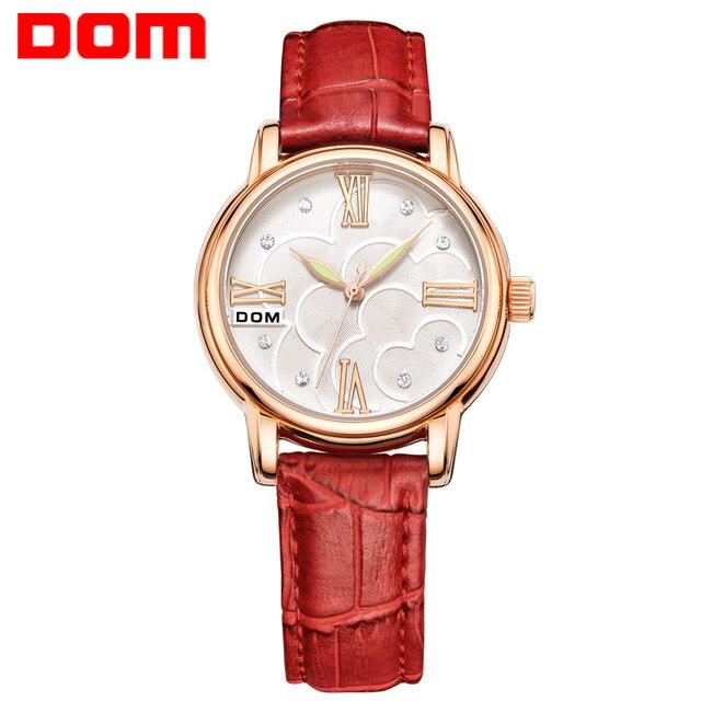 DOM Brand Women watches Square Leather reloj mujer Luxury waterproof Dress Ladies Quartz Rose Gold Watch Montre Femme G-1028