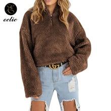 Plain Thick Hoodie Fleece Poleron Mujer 2019 Oversized Sweatshirt Zipper Women Warm Plush Hoodies Winter Pullover