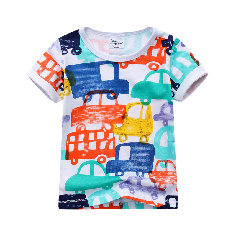 jumping meters clear up stock baby beans cars printed fashion cotton hot selling kids clothes cartoon cotton boy summer Tees
