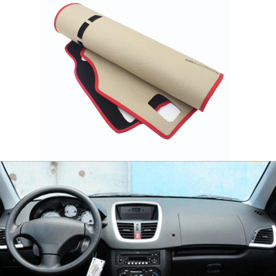 Dongzhen Fit For Peugeot 207 Car Dashboard Avoid Light Pad Fuse Box Sale Instrument Platform Desk Cover Mat Silicone Non Skid Back Surface