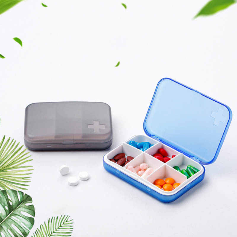 Medicine Box Drugs Container No-toxic 6 Cells Cross Emboss 1 PC Capsule Storage Tools Jewelry Organizer Pill Cases