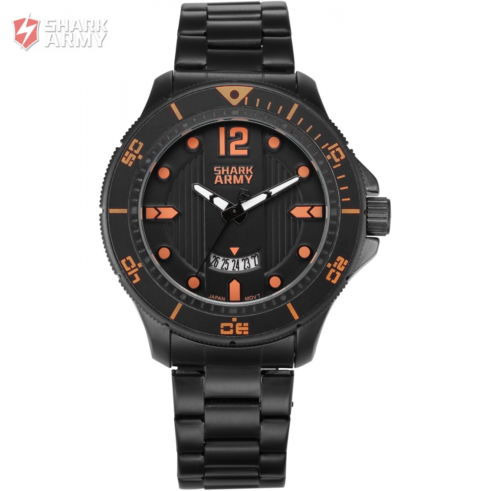 SHARK ARMY Orange Numerals Electroplate Date Display Black Steel Watch Band Men Male Quartz Watch Men Timepiece Gift Box/SAW217 blackhawk field operator watch with black numerals