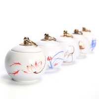 Hot Sale Mini Ceramic Tea Storage Jar Food Canister With Cover China Storage Bottles Jars Ceramic