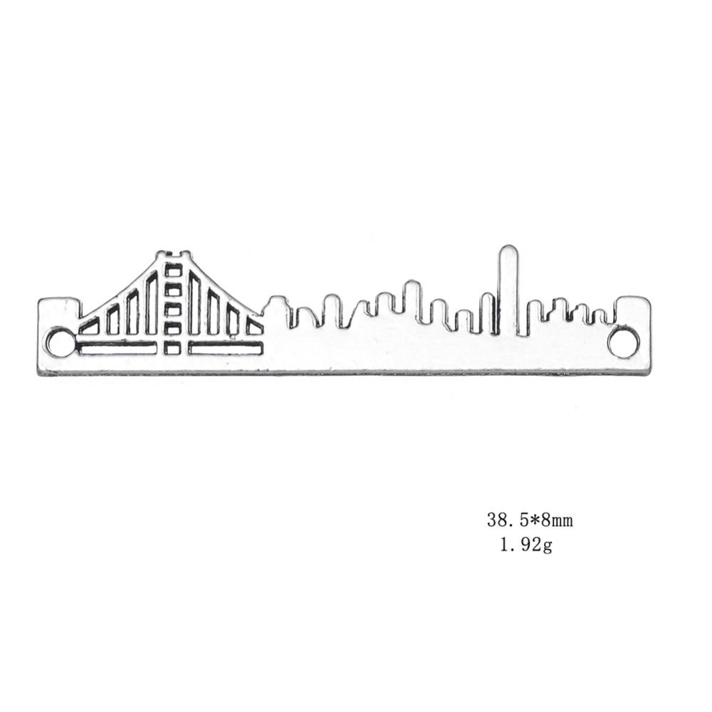 my shape 38.5*8 Love Travelling San Francisco Skyline Necklace Pendant Cityscape Landscape Charm City Jewelry 20pcs