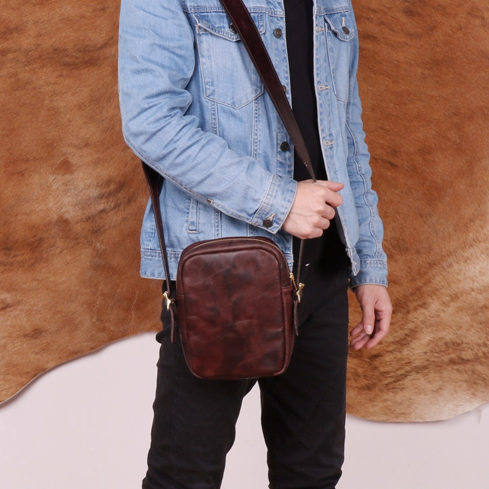 JOYIR Genuine Leather Men Messenger Bag Male Small Flap Man Vintage Crossbody Shoulder Bags Men 39 s Travel Handbag Bolsa Masculina in Crossbody Bags from Luggage amp Bags