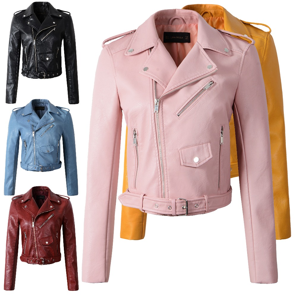 high quality Outerwear Women Motorcycle PU Leather Red Jackets Female New Faux Winter Autumn Short Coat