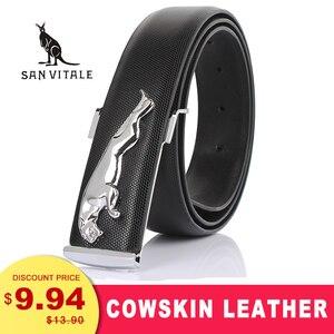 Belts Mens Men Belt Cowskin Strap Wide Genuine Leather Belt Cowboy Black White Leopard Buckles for Dress Luxury Brand Designer(China)